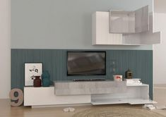 Asia, modern Tv cabinet and wall cabinet in white gloss finish with grey oak detail shown open