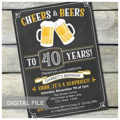 Surprise 40th Birthday Invitation Cheers Beers By Peachpops 30th Parties