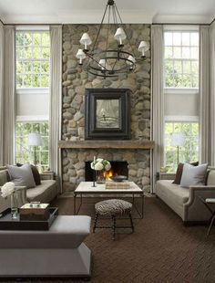 """Look: refined-rustic great room (Stephen Knollenberg)"" Loveee the stone work for the fireplace"