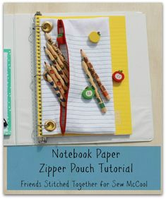 Notebook paper zipper pouch tutorial by Friends Stitched Together on sewmccool.com