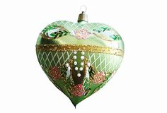 Pearl Heart Ornament by The Whitehurst Company ~~ Made of handblown glass, this gorgeous heart-shape ornament adds cheer and artful beauty to the tree.