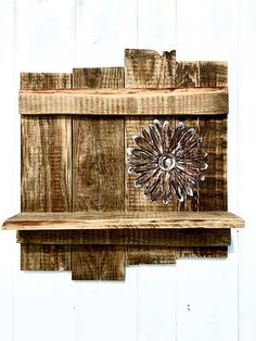 Reclaimed Pallet Shelf With A Wood Stained Daisy