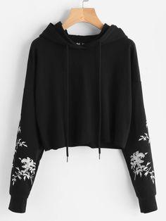 f3e5dae9a827 ... sweatshirt Suppliers: DIDK Black Drop Shoulder Raw Hem Embroidered  Hoodie Ladies Long Sleeve Casual Pullovers Sweatshirt 2017 Fall Street Style  Top