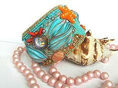 Создаем браслет «Дары моря» с шибори лентой и риволи Swarovski | Ярмарка Мастеров - ручная работа, handmade