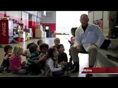 Dr. Tom visits a local fire station to tell kids about taking care of their teeth.