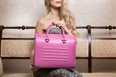 Cambridge Bag in Hot Pink Leather Pink Leather, Leather Bag, Cambridge Bag, Leather Accessories, Natural Leather, Small Bags, Italian Leather, Travel Bags, Leather Handbags