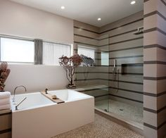 Bathroom with striped tiles