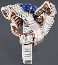 """DIOR. """"Salon de l'Abondance Saphir"""" ring in white and pink gold, scorched…"""