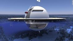 Italian Yacht-maker Jet Capsule has come up with a concept for a lovely floating home, which is fully self-sufficient. It's shaped like a flying saucer, and they have named it UFO, which in this case stands for Unidentified Floating Object. Futuristic Home, Futuristic Design, Floating House, Floating In Water, Floating Island, Ufo, Floating Architecture, Underwater House, Alien Spaceship