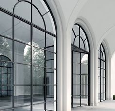 Black steel arched windows