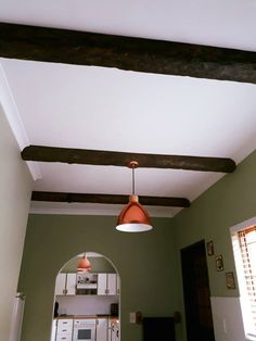 Adding some cottage charm. Fake Wood Beams, Faux Beams, Natural Wood, Cottage, Ceiling Lights, Lighting, Home Decor, Decoration Home, Light Fixtures