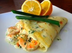 Shrimp Crepe Recipe Old Mill - Toronto Hotel Breakfast Crepes, Crepes And Waffles, Savory Crepes, Pancakes, Mexican Breakfast, Breakfast Sandwiches, Breakfast Bowls, Shellfish Recipes, Seafood Recipes