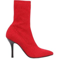 Strategia Women 90mm Lurex Sock Boots (£380) ❤ liked on Polyvore featuring shoes, boots, red, high heeled footwear, leather sole boots, red boots, high heel boots and red shoes