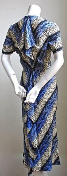 1940's GILBERT ADRIAN chevron print dress with back flounce 3