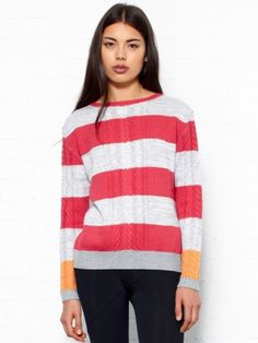 Thakoon Striped Button Back Sweater. Striped jumper by Thakoon in heather grey and red and bright orange stripe on the sleeves. This knit features plaid details and fastens with buttons at the back which gives an interesting twist to this winter must have. Round neck and long sleeves. 50% Cotton, 50% Wool.