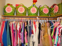 Organize Girl's Closet with baskets from Dollar Tree and make your own tags with cardstock , letters , & ribbon ! Even laminate them =)http://organizethisfamily.blogspot.com/2013/03/organizing-girls-closet.html