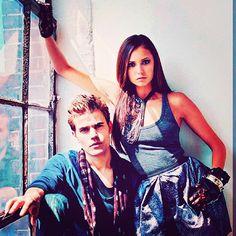 Paul Wesley and Nina Dobrev for a photoshoot. - @vampirejournals- #webstagram