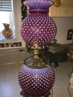 Fenton Vintage Cranberry Hobnail Lamp