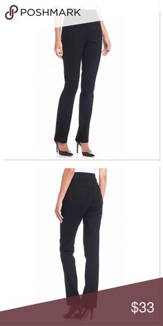 """Gloria Vanderbilt Avery Pull-On Straight Leg Jeans Take your ensemble from day to night in undeniable style with these figure-skimming jean pants. Punctuated by a straight leg silhouette and crafted from ultra luxe twill fabric for an all-around slimming effect, this coveted pair makes the ultimate fashion statement. Black NWT. Average: approximately 31.5"""" inseam Elastic waistband Pockets Straight leg Twill fabric Cotton Machine washable Imported Gloria Vanderbilt Jeans Straight Leg"""