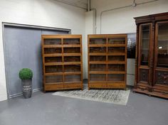 Antiques By Design - Gunn Oak Arts + Crafts Double Wide 5 Section Stacking Bookcases