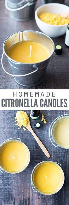 Learn how to make a homemade citronella candle using old candle wax and soup cans! They're so easy to make, and the candle really works to keep bugs and mosquitoes away. :: DontWastetheCrumb… Learn how to make a homemade Old Candles, Candle Wax, Candle Gifts, Outdoor Candles, Beeswax Candles, Scented Candles, Smelly Candles, Diy Candle Wick, Old Candle Jars