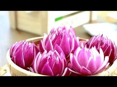Art in Red Onion Lotus Flowers | Fruit & Vegetable Carving Lessons - YouTube