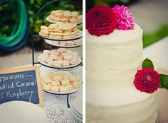 Simple flower decoration on a white cake