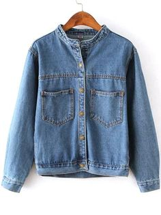 Blue Stand Collar Pockets Crop Denim Coat 19.67