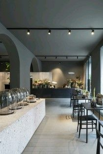 Architecture office Storage Associati designed Potafiori, a restaurant and a flower shop located in Milan, Italy and completed in Read More… Design Shop, Flower Shop Design, Coffee Shop Design, Cafe Design, Design Design, Design Model, Bar Interior, Retail Interior, Shop Interior Design