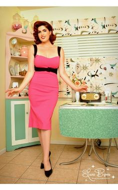 Jessica Wiggle Dress in Hot Pink with Black Trim | Pinup Girl Clothing