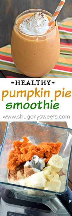 Whip up one of these delicious Pumpkin Pie Smoothies for breakfast today! The pe Whip up one of these delicious Pumpkin Pie Smoothies for breakfast today! The perfect healthy way to start your day (or recover after a workout)! Healthy Smoothies, Healthy Drinks, Healthy Snacks, Fruit Smoothies, Healthy Pregnancy Recipes, Healthy Breakfasts, Eating Healthy, Healthy Fall Recipes, Vegetarian Smoothies