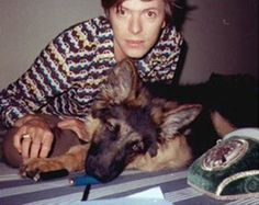 Bowie with his dog Etzel von Sprieteufel in Berlin