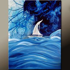 Blue Abstract Sail Boat Art Painting on Canvas 18x24 Original Contemporary Art by Destiny Womack - dWo -  Stormy Seas