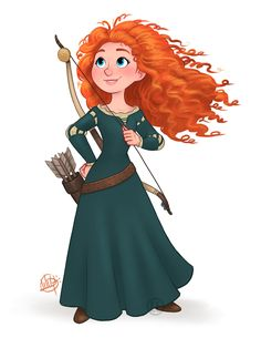 "The last ""official"" Disney Princess is done! Here's Merida from Brave :) Disney Pixar, Disney Nerd, Disney Fan Art, Cute Disney, Disney And Dreamworks, Disney Magic, Walt Disney, Brave Disney, Disney Songs"