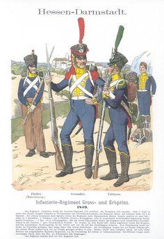 Vol 02 - Pl 43 - Hessen-Darmstadt. Military Art, Military History, Military Clothing, Military Uniforms, German Confederation, German Uniforms, Napoleonic Wars, Modern Warfare, American Revolution