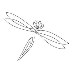 Simple sweet outline dragonfly lotus. Style: Fine Line. Color: Black. Tags: Cool, First, Easy