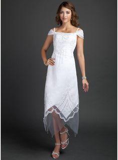 Corte A/Princesa Hombros caídos Hasta la tibia Satén Vestido de novia con Bordado