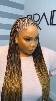 Braided Cornrow Hairstyles, Lemonade Braids Hairstyles, Box Braids Hairstyles For Black Women, Faux Locs Hairstyles, Dope Hairstyles, Braids For Black Hair, African Hairstyles, Carrot Hairstyles, Brown Box Braids