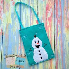 Olaf Goodie Bag (finger puppet storage) Embroidery Design - 5x7 Hoop or Larger