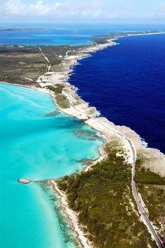 Eleuthera ~ a Bahamian island where dark Atlantic ocean waters meet aqua Caribbean ocean waters
