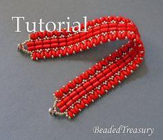 Carmen - beadweaving bracelet tutorial. Rulla bead pattern / Superduo bead pattern