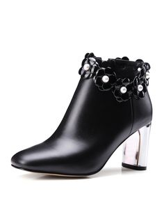 Black Calf Leather Mid-Heel Floral Studded Ankle Boots, Black, NAIQIER | VIPme
