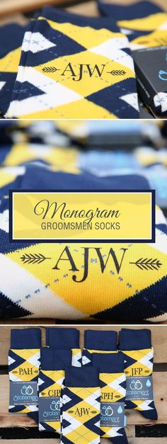 Looking for a way to customize your yellow and navy wedding? We are now customizing our most popular wedding colors with wedding dates, wedding text and monograms. Give your groomsmen in your wedding a gift they will never forget that will always remind them of your big wedding day: custom yellow groomsmen socks. Shop these yellow and navy custom monogram socks and more.