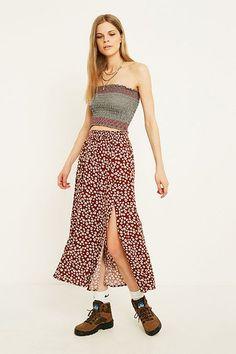 UO Maroon Floral Beach Midi Skirt
