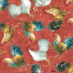 Wilmington Prints Early To Rise by Danhui Nai Red  Roosters Allover | Fabric