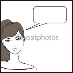 Vector young woman or teenager girl, hand drawn in simply glamour design style, talking with talk bubble speech and brown hair. Illustration isolated on white background.