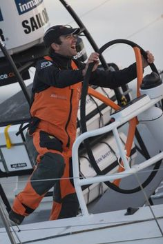 Charlie Enright, who grew up in Bristol, trains on Team Alvimedica's boat in Lisbon, Portugal, for the Volvo Ocean Race.