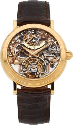 Timepieces:Wristwatch, Vacheron Constantin Extremely Fine & Rare Skeletonized PinkGold Twin Barrel One Minute Tourbillon With Power Rese...
