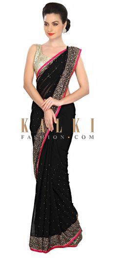Haute black saree embellished in kundan embroidery only on Kalki Designer Sarees Wedding, Designer Silk Sarees, Pakistani Outfits, Indian Outfits, Indian Clothes, Fancy Sarees, Party Wear Sarees, Indian Beauty Saree, Indian Sarees