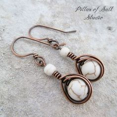 Copper Wire wrapped earrings with white magnesite stones / herringbone teardrop wrap